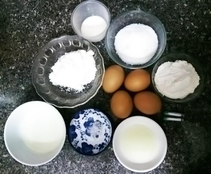 Nguyên liệu món ăn bánh bông lan bằng nồi chiên không dầu