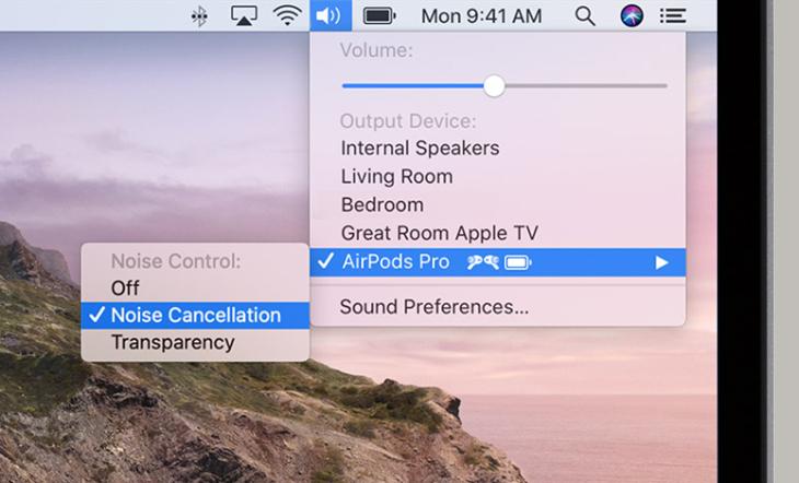 Có thể bật tắt chống ồn/xuyên âm ngay trên iMac/MacBook - Apple AirPods Pro