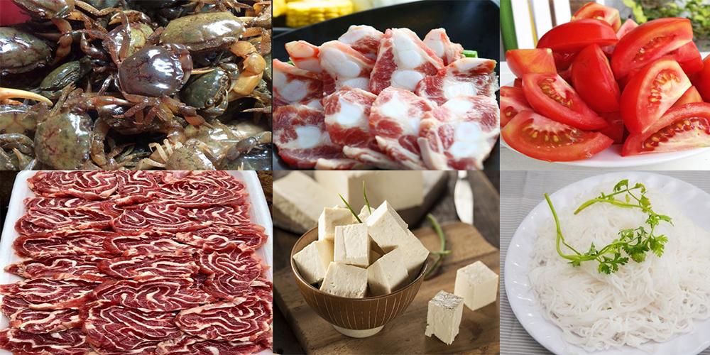 Nguyên liệu món ăn lẩu riêu cua bắp bò