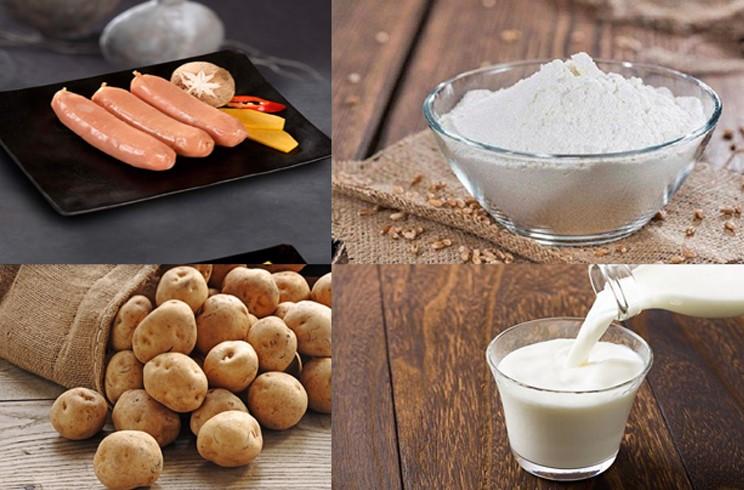 Nguyên liệu món ăn hotdog xúc xích và hotdog phô mai hàn quốc