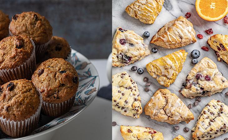 Muffin và Scone là các loại bánh có thành phần bột nở trong công thức
