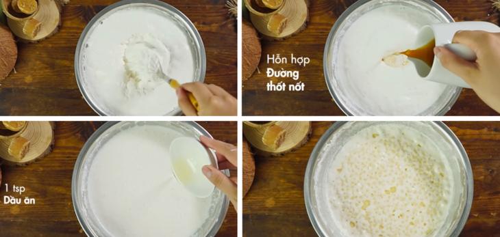Trộn hỗn hợp bột với hỗn hợp đường, dầu ăn, trộn đều và ủ trong 2 tiếng