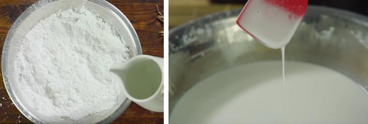 Đánh tan hỗn hợp bột với nước dừa