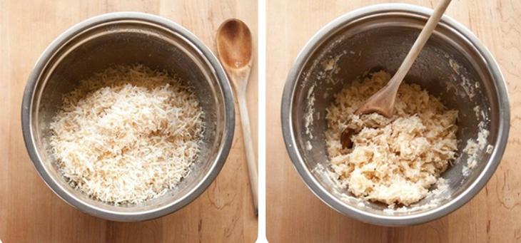 Bước 3 Trộn dừa nạo với lòng trắng trứng Bánh dừa nướng