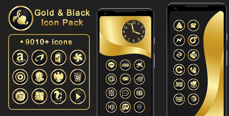 Gold & Black Icon Pack 9010+ icons