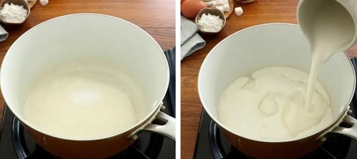 Bước 3 Nấu hỗn hợp nước cốt dừa Bánh tai yến