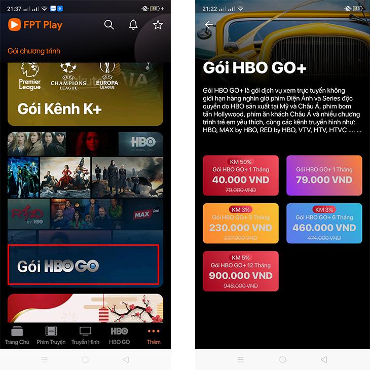 Lướt xuống chọn Gói HBO Go > Chọn thời gian gói HBO Go