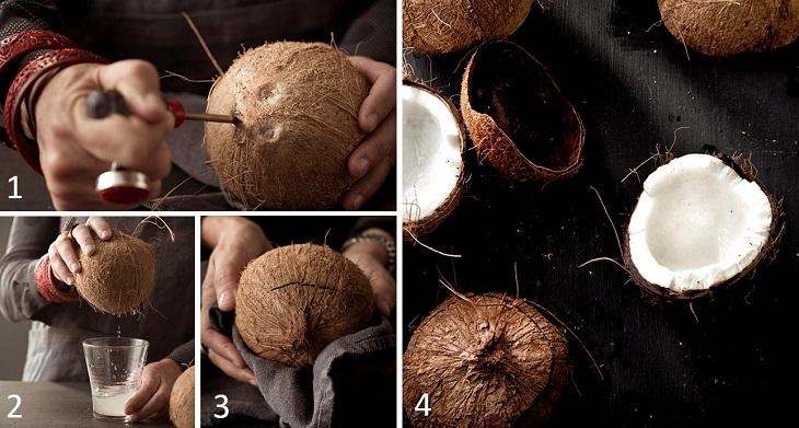 Bước 1 Sơ chế nguyên liệu Nước cốt dừa
