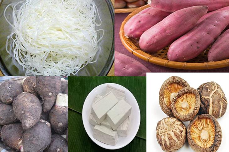 Nguyên liệu món ăn 2 cách nấu hủ tiếu hoành thánh chay, hủ tiếu xào chay