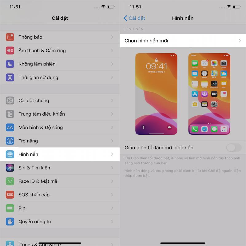 Cài hình nền iPhone mới