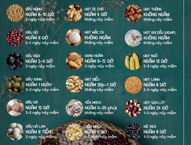 Thời gian ngâm của từng loại đậu, hạt ngũ cốc
