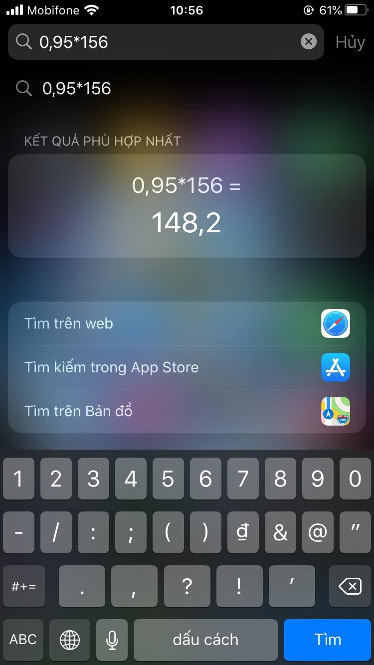 Tính toán nhanh trên iPhone