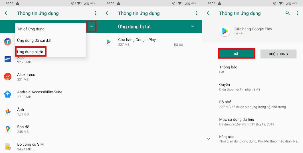 Cách bật lại ứng dụng Google Play khi bị tắt