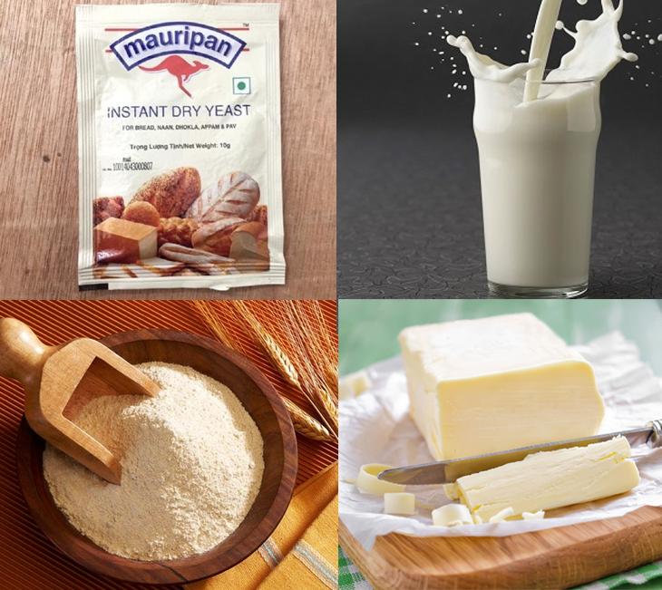 Nguyên liệu món ăn bánh sừng bò (bánh croissant)