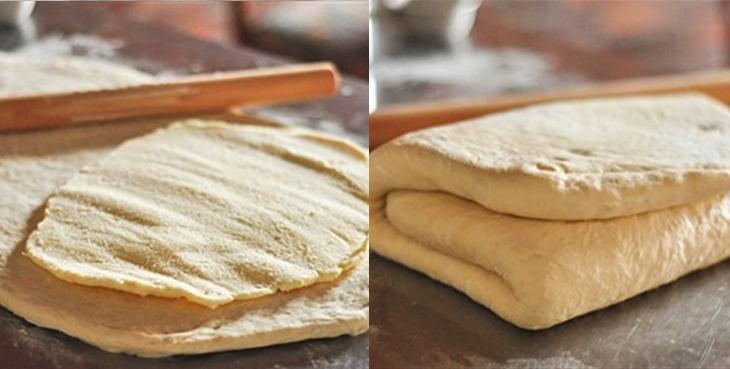 Bước 3 Cán bột, gấp và ủ lần 2 Bánh sừng bò (bánh croissant)