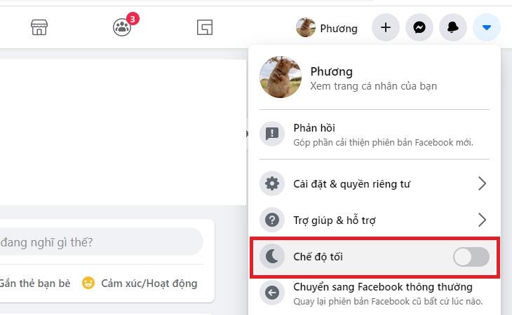 Bước 2: Trong giao diện Facebook mới, hãy chọn tiếp vào biểu tượng mũi tên xổ xuống