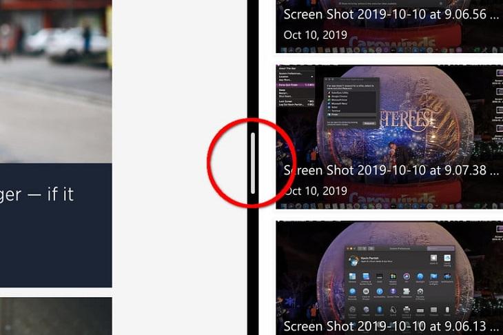 Nhấn giữ dải phân cách để điều chỉnh độ rộng của màn hình