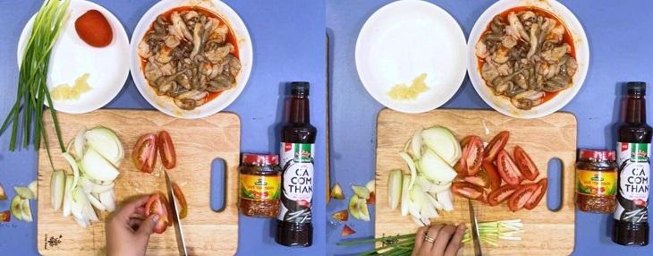 Sơ chế rau củ cho món bạch tuộc xào sa tế