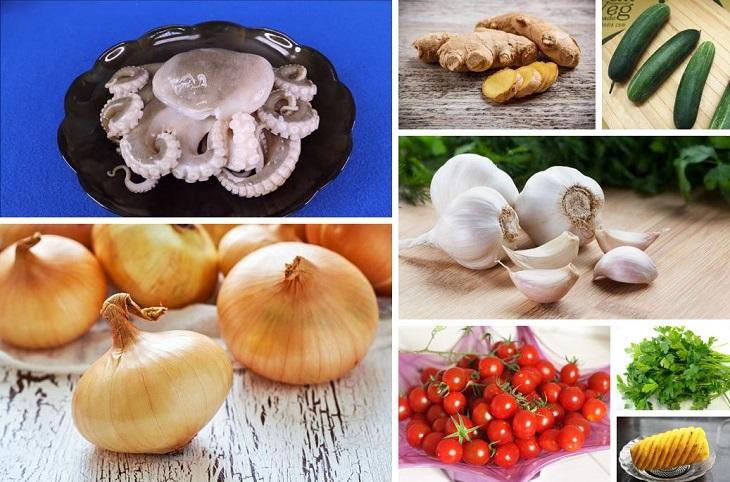 Nguyên liệu làm món bạch tuộc xào chua ngọt