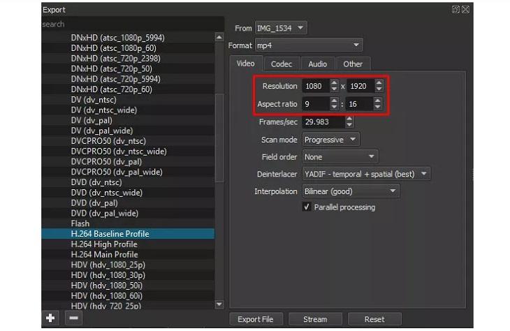 Thay đổi độ phân giải video bằng cách điều chỉnh thông số ở mục Resolution (độ phân giải) và Aspect ratio (tỉ lệ khung hình).