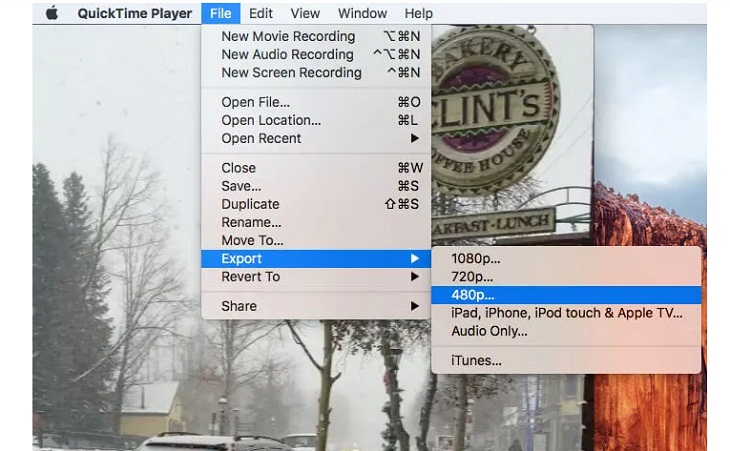 xử lý dung lượng video, bạn cần vào File -> Export As