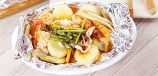 Cách làm món đậu hũ hải sản nướng giấy bạc ngon ngất ngây, ăn là ghiền