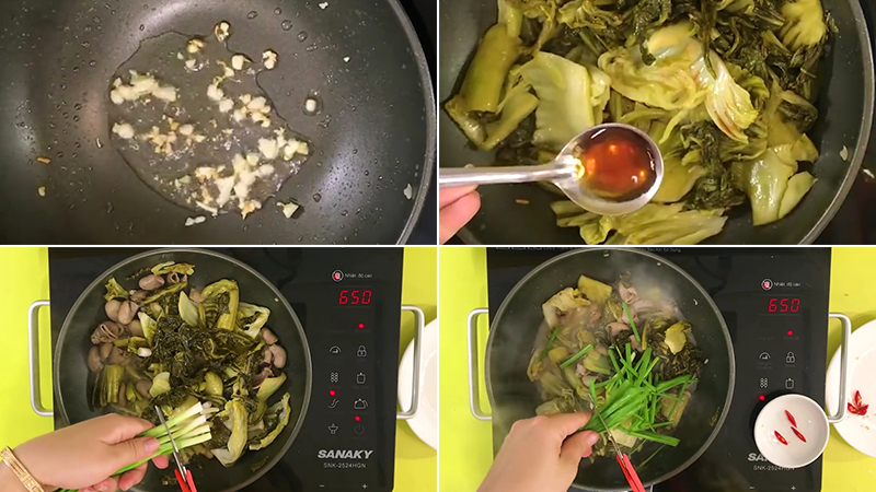 Bước 3: Hoàn thành bao tử cá xào cải chua