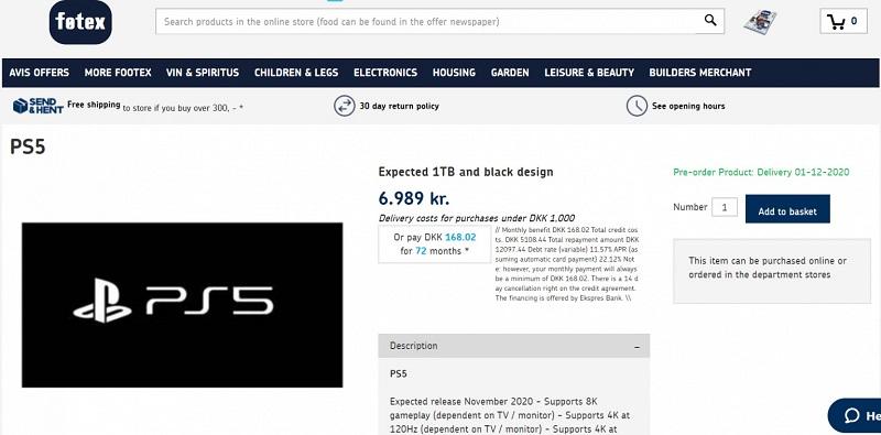 Giá bán của Sony PlayStation 5 vô tình bị lộ trên một website bán hàng của Đan Mạch