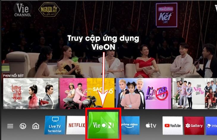 Truy cập ứng dụng VieON