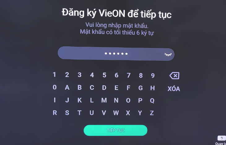 Mật khẩu cho tài khoản VieON
