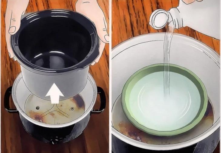 Bước 1: Đặt một bát amoniac bên trong phần vỏ nồi.