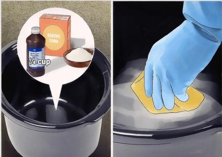 Bước 3: Dùng hỗn hợp tẩy rửa mạnh hơn.