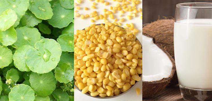 Nguyên liệu món ăn rau má đậu xanh và rau má đậu xanh sữa dừa