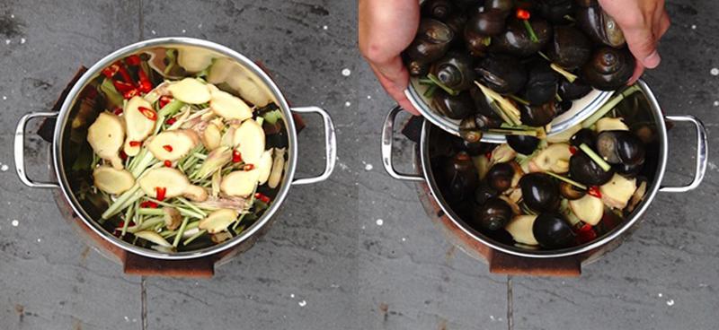 Bước 2 Luộc sơ ốc Ốc bươu nướng tiêu xanh