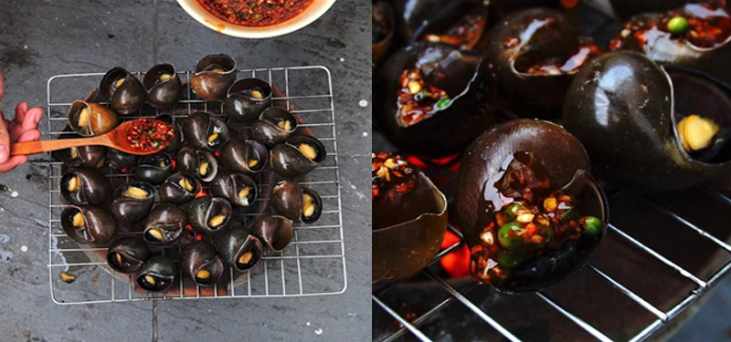 Bước 4 Nướng ốc bươu Ốc bươu nướng tiêu xanh
