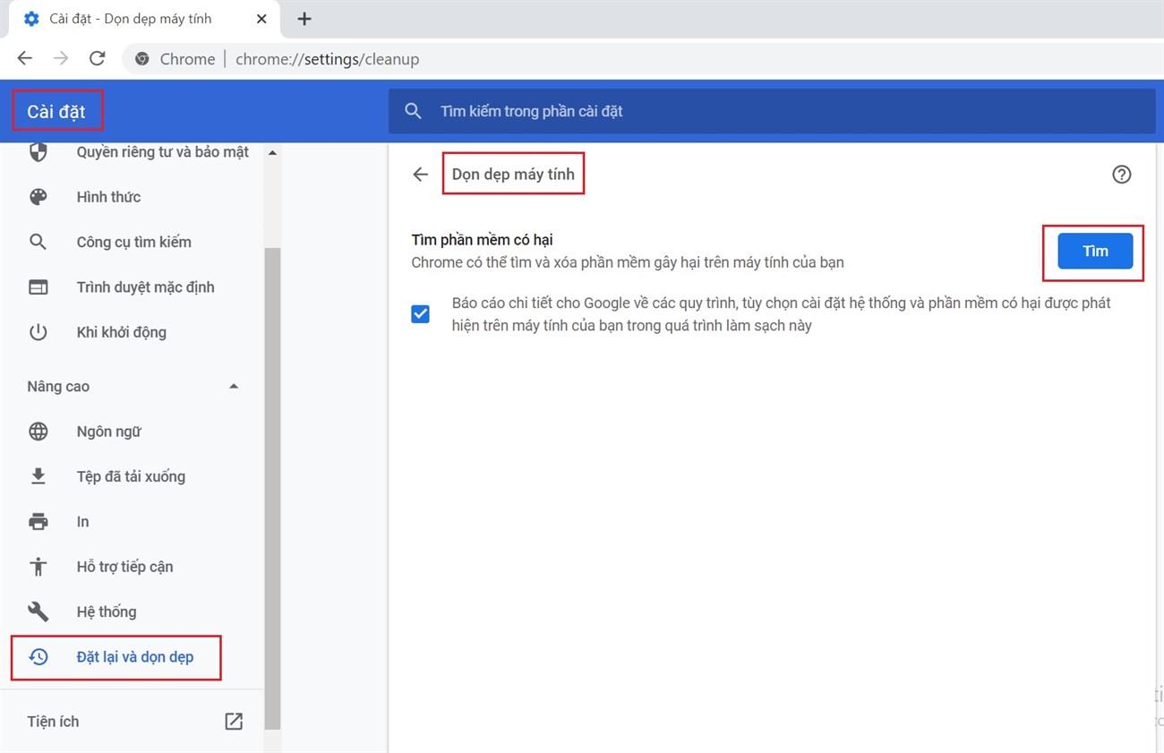 Sử dụng công cụ dọn dẹp Chrome