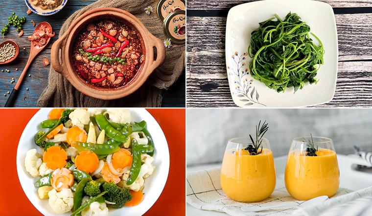 Mâm cơm cuối tuần nhẹ nhàng với thịt kho quẹt và các loại rau xào, rau luộc
