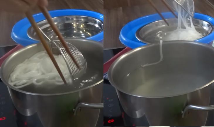 Bước 4 Tạo hình và luộc sợi bánh canh Sợi bánh canh bột sắn