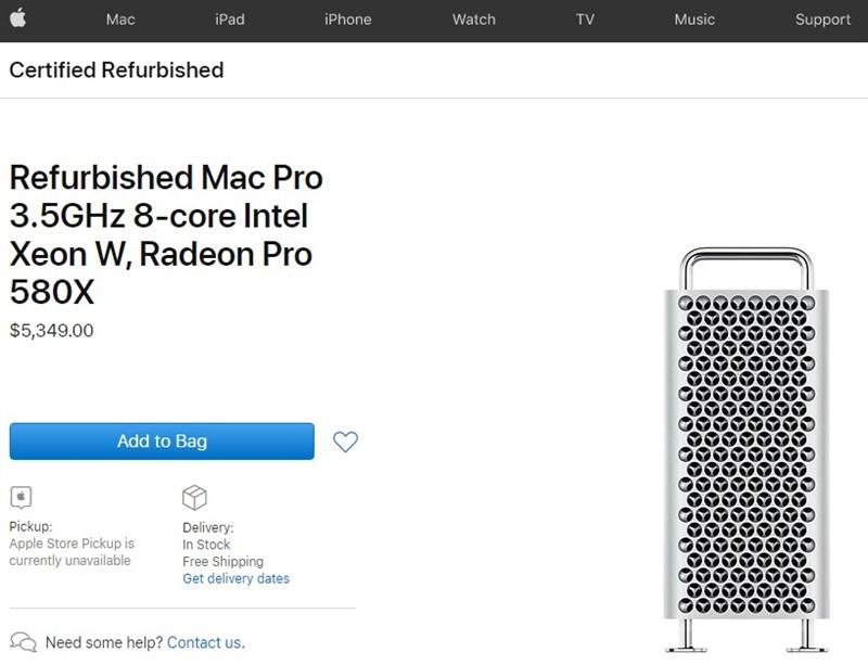 Apple vừa bổ sung vào mục Refurbished (hàng tân trang) các mẫu Mac Pro 2019