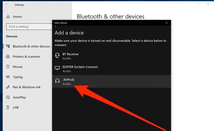Trên laptop sẽ xuất hiện trong danh sách các thiết bị có sẵn để ghép nối