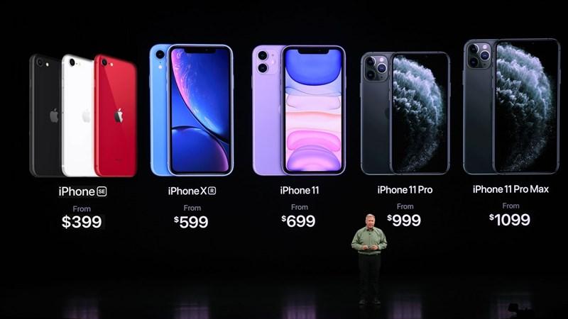 giá các dòng iPhone 2020