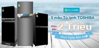 5 mẫu tủ lạnh Toshiba giá đã rẻ, lại còn giảm thêm tới gần 2 triệu, mua ngay kẻo lỡ!