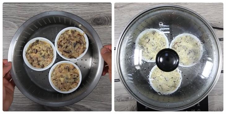 Bước 3 Hấp trứng Trứng hấp thịt băm