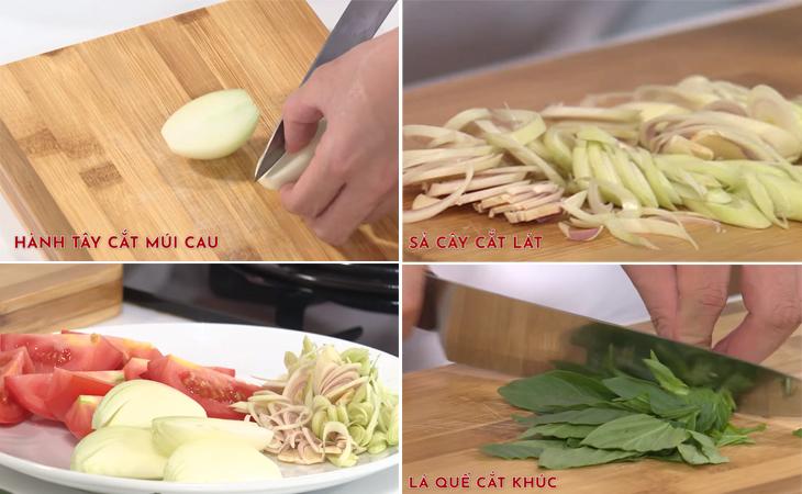 Bước 2 Sơ chế rau củ Lẩu cá khoai chua cay