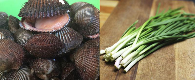 Nguyên liệu món ăn 2 cách làm sò lông nướng mỡ hành và sốt xoài