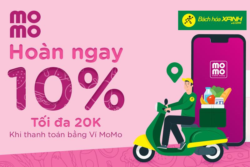 Hoàn tiền 10% tối đa 20.000đ khi thanh toán thành công qua ví MoMo