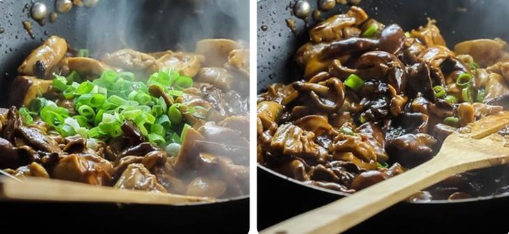 Bước 3 Xào gà Gà xào nấm hương