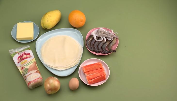 Nguyên liệu món ăn chả giò hải sản sốt mayonnaise