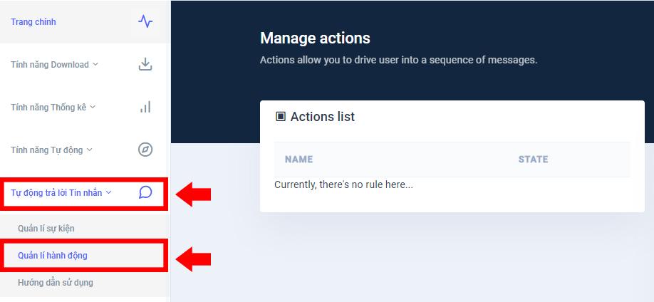 Chọn vào mục Tự động trả lời tin nhắn > Quản lí hành động