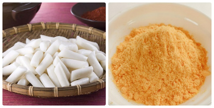 Nguyên liệu món ăn 2 cách làm tokbokki chiên xù và chiên phô mai